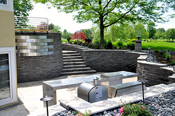 Retaining wall project profiles yates residence for Garden design yates