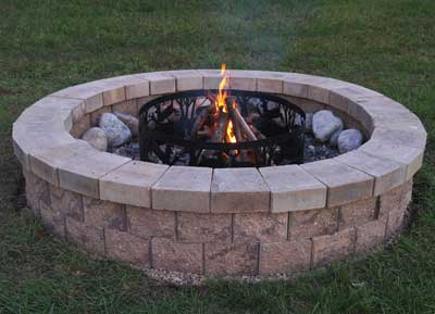 The allan block blog caring for your allan block for How to build a fire pit with concrete blocks
