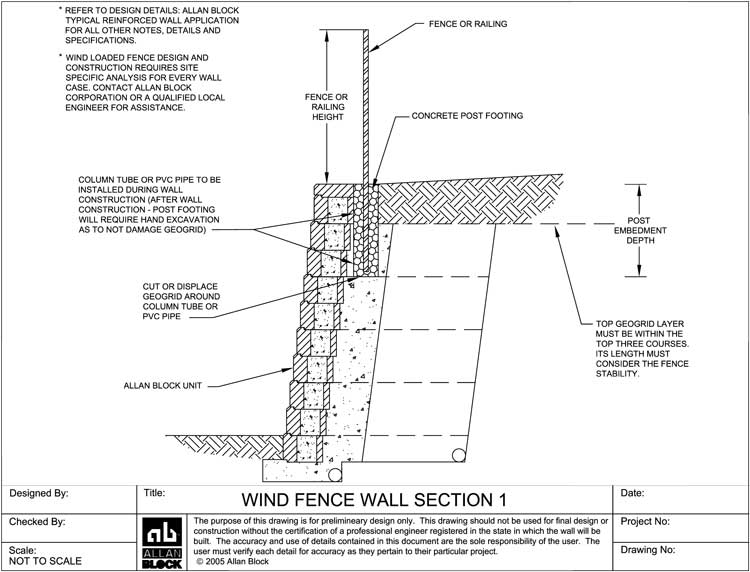 wind bearing fence or railing option 1 - Block Retaining Wall Design Manual