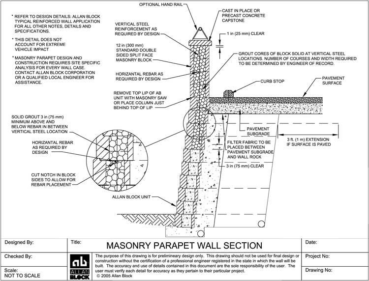 Masonry Block Wall Design building a concrete block retaining wall building masonry walls patios walkways Masonry Parapet