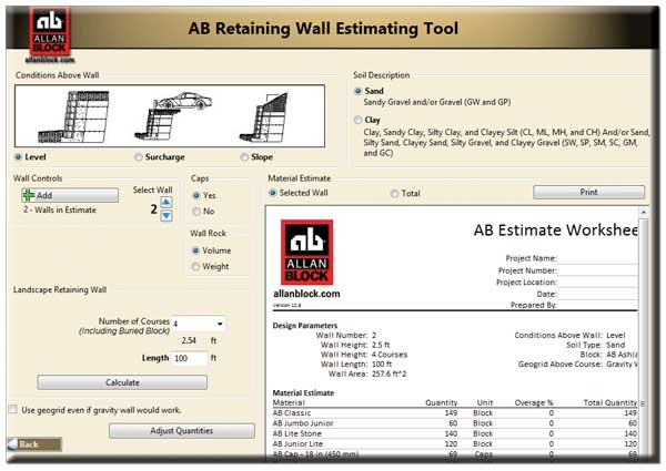 Material Estimating Tools For Retaining Walls, Courtyard