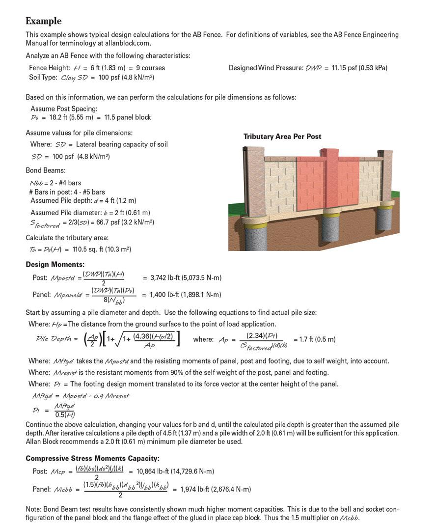 Concrete Block Fence - Fence Design Calculations