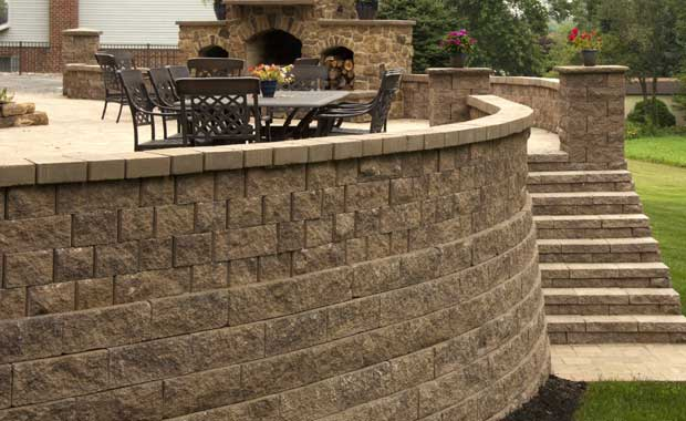 retaining wall with patio surround
