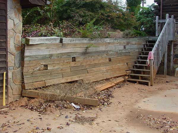failing treated timber wall - Timber Retaining Wall Designs