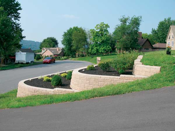 Three Walls To Create A Terraced Application With Shrubs And Plants