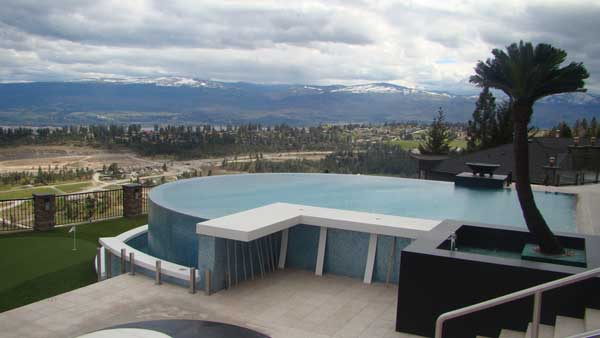 Backyard ideas with above ground pools - Above Ground Swimming Pool With Retaining Wall