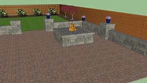 3d illustration of courtyard backyard