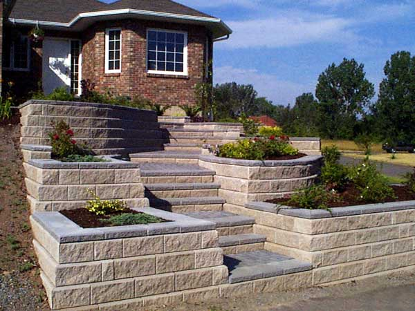 Retaining Walls Build Front Yard Landscapes on Terraced Front Yard Ideas id=69597