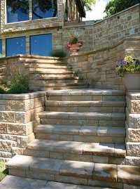 Stairs With AB Capstones And Pavers