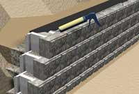 Finishing An AB Fieldstone Retaining Wall. Install Filter Fabric
